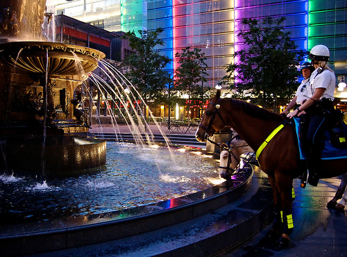 Downtown Fountain Square and Mounted Police - Chris Thompson